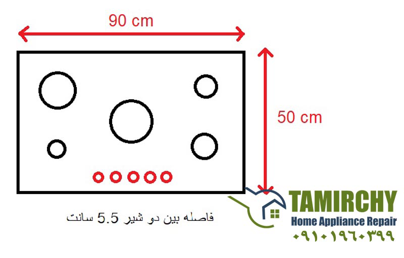 شکل شماتیک اجاق گاز همراه با اطلاعات لازم - تعویض صفحه شیشه ای اجاق گاز